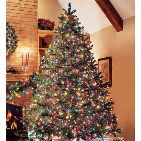 Pre Lit Artificial Douglas Fir Christmas Tree - Douglas Fir Artificial Pre Lit Christmas Trees, Wreaths And Garland.